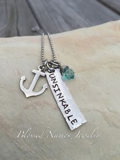 Unsinkable hand stamped stainless steel by BlessedNamesJewelry
