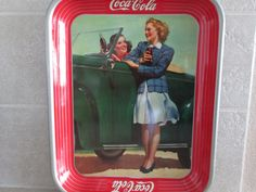 Coca Cola Tray Roadster Girl 1942 by ShelleysCoolJunque on Etsy, $295.00