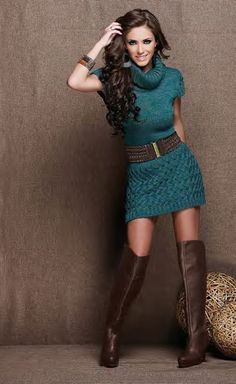 Belted sweater dress  boots. So cute!...This is what i will be going looking for to wear to a work christmas party except long sleeved!!  :)