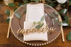 wedding table decoration ideas // Laurel Creek Manor, Seattle Wedding Photographer // Courtney Bowlden Photography // green and gold wedding colors Wedding Table Place Settings, Wedding Place Cards, Wedding Table Names, Wedding Name, Dream Wedding, Gold Wedding, Wood Name Sign, Wood Names, Wedding Plates
