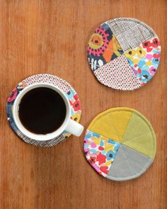 Coasters How-To on Craft Foxes. Excerpt from 1, 2, 3 Quilt by Ellen Luckett Baker.