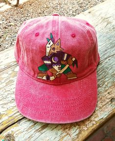 804f39ffc31 Custom hand painted 90 s Hockey Phoenix Coyotes Kachina red denim hat by   bleudoor on Instagram