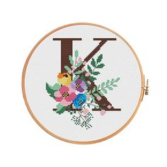 Spring Letter K cross stitch pattern letter K alphbet image 0 Cross Stitch Letter Patterns, Monogram Cross Stitch, Cross Stitch Rose, Cross Stitch Alphabet, Modern Cross Stitch, Cross Stitch Designs, Stitch Patterns, Cross Stitching, Cross Stitch Embroidery