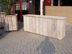 Planten / Bloembak 200x100x35cm van oud gebruikt steigerhout (22131603)