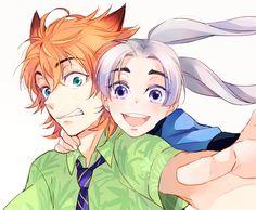 Humanized//Anime version of Judy Hopps and Nick Wilde ♡