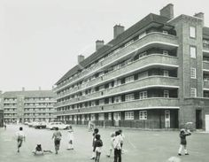 Sandgate House, Pembury Estate, looking east from Clarence Road, Clapton . London Architecture, London History, Social Housing, East London, Back In The Day, Roads, Childhood Memories, Street View, City