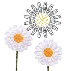 No.72 Daisy Crochet Flower Motifs / 데이지 코바늘 플라워 모티브도안