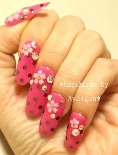 Japanese deco nails Sakuran polka dots and cherry by Aya1gou, $19.50