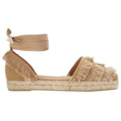 Castaner Women's Canvas Fringe Espadrille Flat (175 AUD) ❤ liked on Polyvore featuring shoes, flats, flat espadrilles, ankle strap flats, flat shoes, fringe shoes and espadrilles shoes