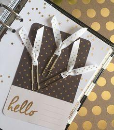 Gold Polka Dot Ribbon Clips / Planner / ECLP / Erin Condren / calendar / Scrapbooking by PugPaperCo on Etsy https://www.etsy.com/listing/246765815/gold-polka-dot-ribbon-clips-planner-eclp