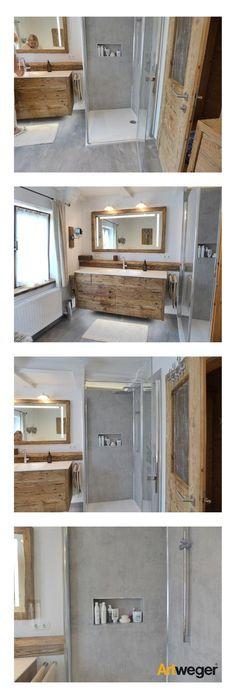 Successful bathroom renovation with Artweger TWISTLINE shower, ARTWALL wall panels in be . Successful bathroom renovation with Artweger TWISTLINE shower, ARTWALL wall panels in concrete, matching gray Grey Floor Tiles, Grey Flooring, Gray Floor, Bathroom Renovations, Tile Design, Bathroom Inspiration, Master Bathroom, Mirror Bathroom, Bathroom Layout