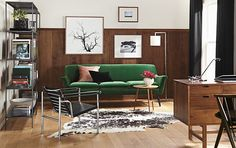 walnut, rich green, black & white. amazing color combination. inspired.