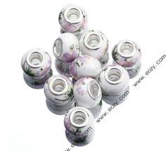 10x15mm Pink Lotus Flower Painting Porcelain Ceramic Craft Charm Spacer Beads Fit European Bracelet