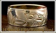 White 14 Kt domed Eagle Wedding band ~ Northwest Coast Native American custom work http://haroldalfred.com