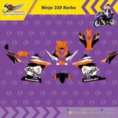 Custom Decal Vinyl Striping Motor Full Body Kawasaki Ninja 250 Karbu Thema Red White Strip by DIGITIVE