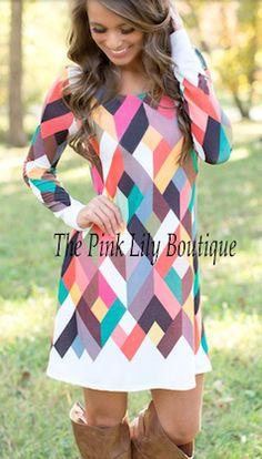 Geometric shape long sleeve Fall dress
