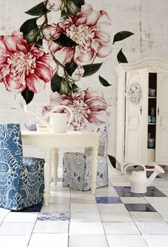 Stunning floral wallpaper CASCADE by Christian Benini for Wall & Deco Italy. Available in two colors.Collection non woven wallpaper will be made on demand in the size you need and comes Decor, Wall Wallpaper, Mural Wallpaper, Contemporary Wallpaper, Home Decor, Floral Wallpaper, Floral Wall, Wall Design, Wall Deco