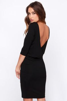 chic black backless dress | lulus