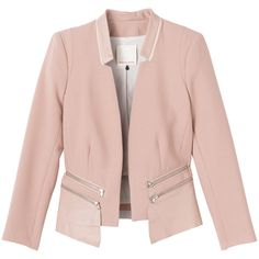 Rebecca Taylor Leather Trim Jacket (£255) ❤ liked on Polyvore featuring outerwear, jackets, blazers, coats & jackets, rose, pink blazer jacket, pink leather blazer, blazer jacket, leather jackets and real leather jackets