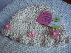 Cotton Baby Girls Bonnet Hat with Pink Flowers by MumtazCreations