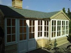 The Bungalow Summer House was the first one of our designs with the bay window. Garden Studio, Bay Window, Summer Houses, Bungalow, Shed, Outdoor Structures, Cabin, Windows, House Styles