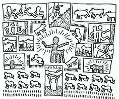 Keith Haring, Blueprint Drawing Graffiti Art, Original Canvas Art Print,Home Decor,No Frame Keith Haring, Haring Art, Acid Trip Art, Jm Basquiat, Blueprint Drawing, Elements Of Art, Colouring Pages, Coloring, Graffiti Art