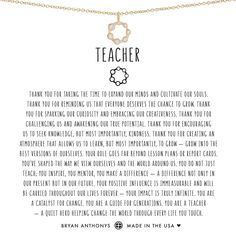 Teacher Necklace 14K Gold