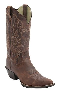 Ariat® Women's Sassy Brown Heritage J-Toe Western Boots | Cavender's Boot City $170. Taupe & tan stitching, rubber heel, pointier toe, nice color though. Order half size down.
