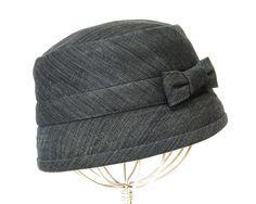 womens hat cloche grey denim, updated 1920s style