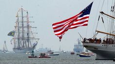 .July 8, 2012 Share this image:   By Tim Cook, The Day, via AP  Tags: Connecticut, New London, tall ships  7/7/2012  The U.S. Coast Guard tall ship Eagle, right, sails toward Fort Trumbull as the Brazilian ship Cisne Branco enters the Thames River on Saturday in New London, Conn. Twenty-four ships from around the world are participating in the OpsSail sailing event.