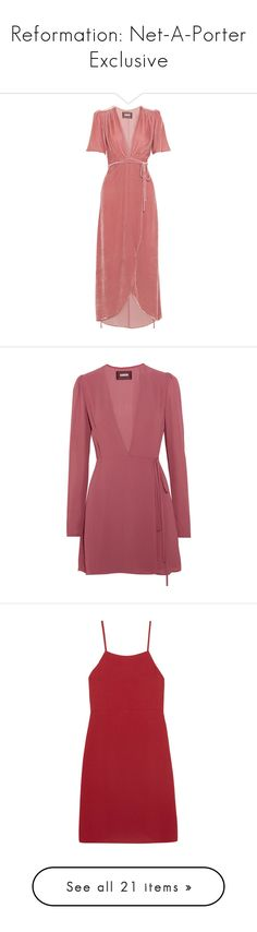 """""""Reformation: Net-A-Porter Exclusive"""" by livnd ❤ liked on Polyvore featuring netaporter, Reformation, livndfashion, livndreformation, dresses, reformation, baby pink, tie dress, wrap tie dress and wrap style dress"""