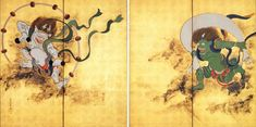 Fuhjin(spirit of the wind) and Raijin(spirit of the thunder) byoubu,by Hohitsu Sakai,Idemitsu Museum,Japan@ほんのわの読書日記    本を読んでいるときが一番幸せ : 江戸琳派について 風神雷神図