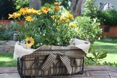 basket with daisies! A way to use the metals baskets I found recently!