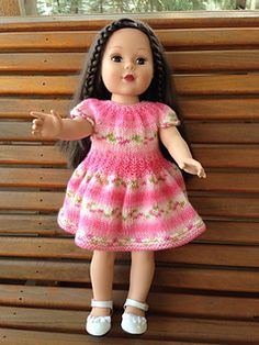 Ravelry: Katie's New Dress pattern by Janice Helge Knitted Dolls Dress Pattern, New Dress Pattern, Doll Dress Patterns, American Doll Clothes, Quick Knits, Crochet Art, 18 Inch Doll, Buttonholes, Girl Dolls
