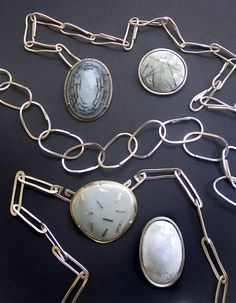 Beautiful links -- Silver and Enamel Jewelry by Vera Meyer