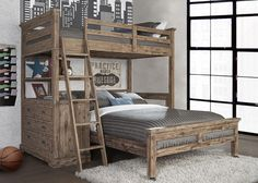 Hillsdale Furniture Oxford Twin Loft Bed with 4 Drawer Chest & Full Lower Bed - Cocoa (Brown) Loft Bunk Beds, Modern Bunk Beds, Full Bunk Beds, Bunk Beds With Stairs, Kids Bunk Beds, L Shaped Bunk Beds, Bunk Beds For Adults, Cabin Bunk Beds, Queen Bunk Beds