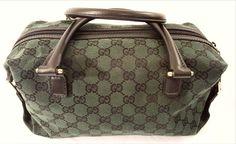 "Signature GG canvas handbag - Green/Black Original GG canvas with black leather trim - Inside and smart phone pocket - Black Leather hand straps with gold hardware - Size: 11.5""W x 7""H x 4""D - Black l"
