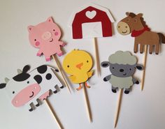 Farm Animal Cupcake Toppers by SweetCutsShoppe on Etsy