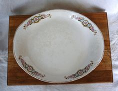 Lovely vintage Owen China Serving Platter. Great Shabby or Cottage Chic look. Platter is in great vintage condition - no chips, cracks or breaks. One tiny rough spot, that can only be felt when you run your finger around the edge. Some coloring due to the age of platter. Beautiful serving piece.    Measures 0 3/4 x 11 3/4    Inbox me with any questions.    Thanks so much for browsing and shopping at my Etsy shop.
