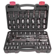 The Speedway 64-piece socket set is for standard and metric nuts and bolts. This socket set is constructed out of tough carbon steel with a handy case to store the 64 piece socket set in.