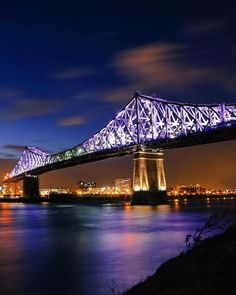 Montreal's Jacques Cartier Bridge Is Now Lit Up And It Looks Insane! Jacques Cartier, Montreal Ville, Montreal Quebec, Travel Picture, Moving To Canada, Visit Canada, Prince Edward Island, Anne Of Green Gables, Tatoo
