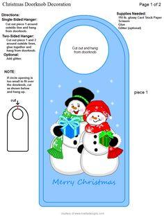 Doorknob Hangers, Door Knobs, Paper Box Template, Box Templates, Paper Banners, Christmas Printables, Xmas Decorations, Card Stock, Origami