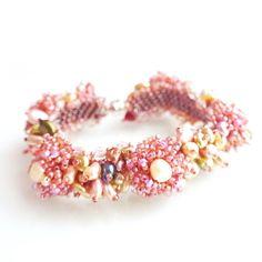 Bracelet-Springy Pink Floral Pearl Swarovski Crystal Japanese Seed Bead Handmade Beadwork Luxury Statement Bracelet,Free Shipping