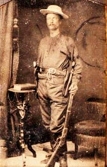 Captain Junius Peak of the Texas Rangers, ca1878, with a quick Snapseed fix up to the dark tintype image.