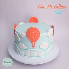 Torta Globos - Hot Air Balloon cake by Giovanna Carrillo Nautical Birthday Cakes, Balloon Birthday Cakes, Baby Birthday Cakes, Fondant Cakes, Cupcake Cakes, Family Reunion Cakes, Cake Designs For Kids, Hot Air Balloon Cake, Tooth Cake