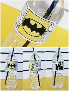 Superhero Collection (Batman). Water Bottle Labels. DIY Printable Design. Pinkadot Shop. $6.00, via Etsy.