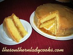 This is a great cake and the caramel frosting just makes it so good!  I have made this cake for years and it never lasts long. 1/2 cup butter or margarine, softened1 1/4 cups sugar3 large eggs1/3 c...