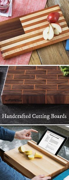 Diy Wood Projects Discover Tablet-Holding Cutting Board No matter how much you butcher them these cutting boards are made for a lifetimeand will age gracefully. Made in Brooklyn discovered by The Grommet. End Grain Cutting Board, Diy Cutting Board, Wood Cutting Boards, Butcher Block Cutting Board, Small Wood Projects, Projects To Try, Easy Woodworking Projects, Woodworking Plans, Woodworking Classes