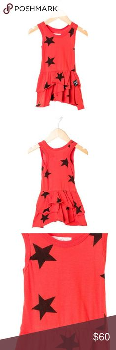 Nununu red ruffle asymmetrical black star dress Nununu red cotton tiered ruffle asymmetrical pleats with black star print throughout dress. Size 2-3 nununu Dresses Casual
