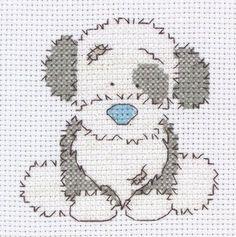 Cute cross-stich puppy in blue and grey.